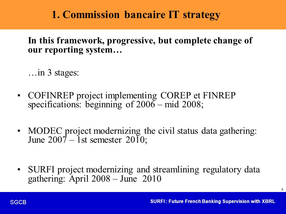 SURFI : Future French Banking Supervision with XBRL SGCB 15 Presentation overview Strategical axis in terms of operational IT objectives.