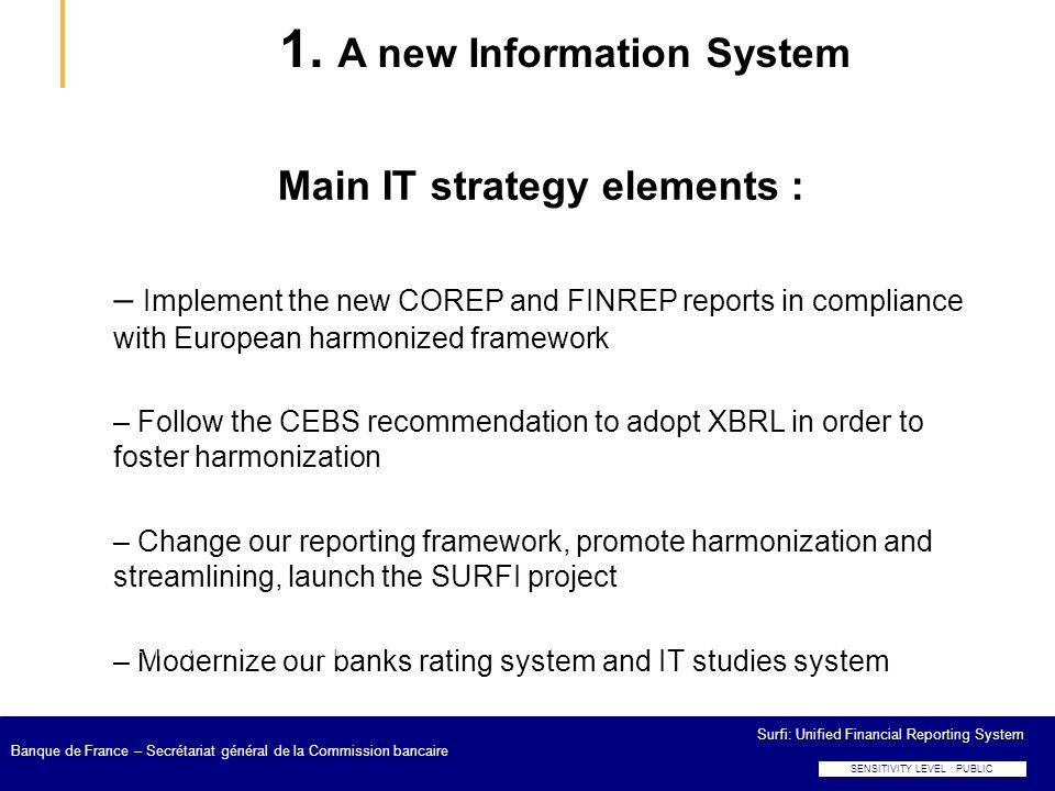 Surfi: Unified Financial Reporting System Banque de France – Secrétariat général de la Commission bancaire 1. A new Information System Main IT strateg