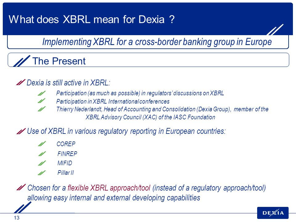 13 Implementing XBRL for a cross-border banking group in Europe Use of XBRL in various regulatory reporting in European countries: COREP FINREP MIFID