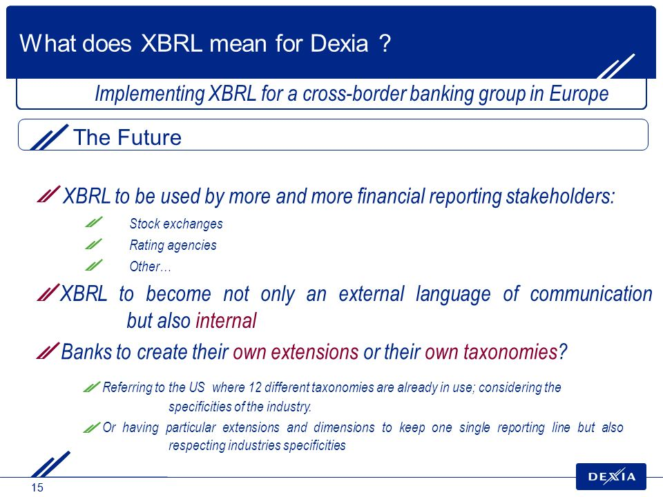 15 Implementing XBRL for a cross-border banking group in Europe Banks to create their own extensions or their own taxonomies? Referring to the US wher