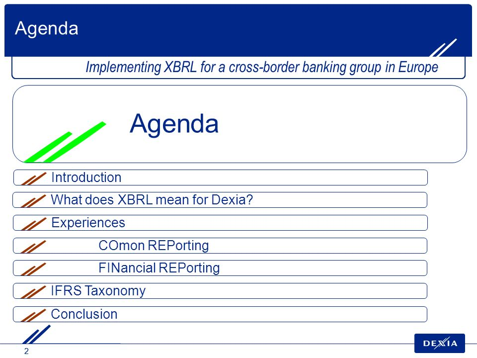 22 What does XBRL mean for Dexia? Agenda Implementing XBRL for a cross-border banking group in Europe Agenda Experiences COmon REPorting FINancial REP