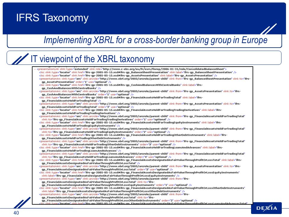 40 IT viewpoint of the XBRL taxonomy Implementing XBRL for a cross-border banking group in Europe IFRS Taxonomy