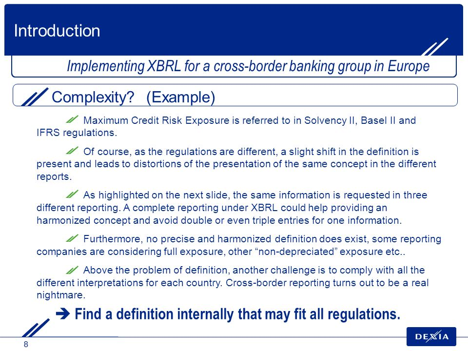 88 Implementing XBRL for a cross-border banking group in Europe Complexity? (Example) Introduction Maximum Credit Risk Exposure is referred to in Solv