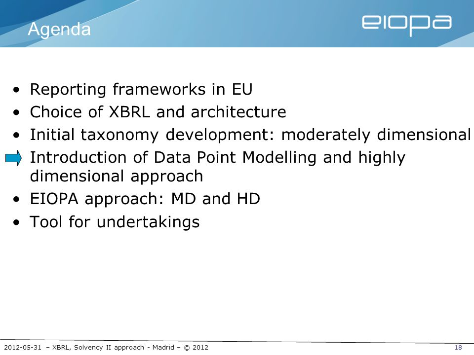 2012-05-31 – XBRL, Solvency II approach - Madrid – © 201218 Agenda Reporting frameworks in EU Choice of XBRL and architecture Initial taxonomy develop