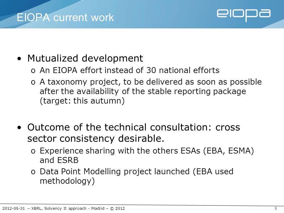 2012-05-31 – XBRL, Solvency II approach - Madrid – © 20125 EIOPA current work Mutualized development oAn EIOPA effort instead of 30 national efforts o
