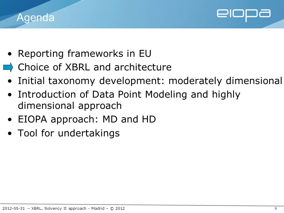 2012-05-31 – XBRL, Solvency II approach - Madrid – © 201230 What are we looking for?