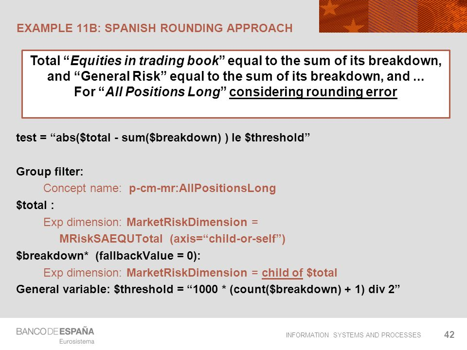 INFORMATION SYSTEMS AND PROCESSES EXAMPLE 11B: SPANISH ROUNDING APPROACH 42 test = abs($total - sum($breakdown) ) le $threshold Group filter: Concept