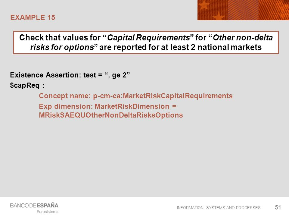 INFORMATION SYSTEMS AND PROCESSES EXAMPLE 15 51 Existence Assertion: test =. ge 2 $capReq : Concept name: p-cm-ca:MarketRiskCapitalRequirements Exp di