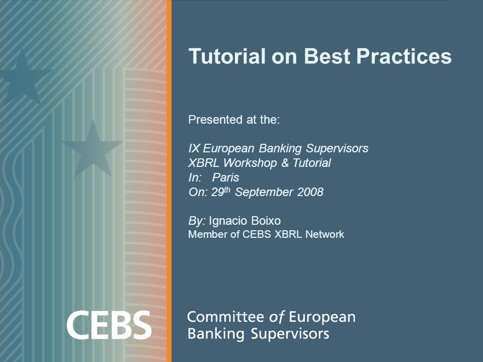 Tutorial on Best Practices Presented at the: IX European Banking Supervisors XBRL Workshop & Tutorial In: Paris On: 29 th September 2008 By: Ignacio B