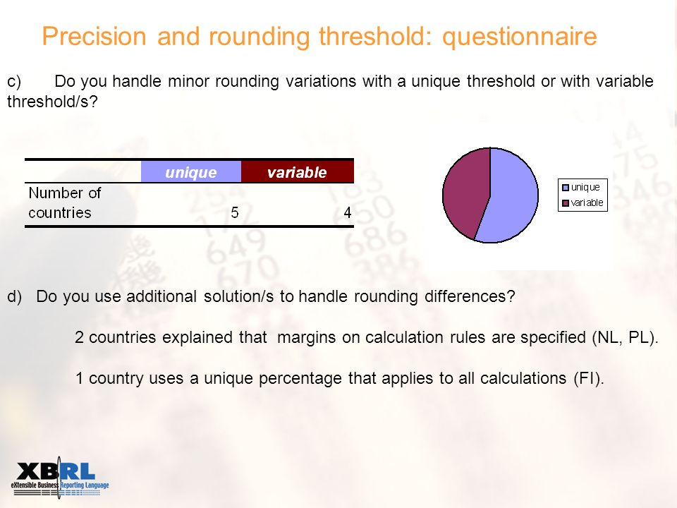 Precision and rounding threshold: questionnaire c) Do you handle minor rounding variations with a unique threshold or with variable threshold/s? d) Do