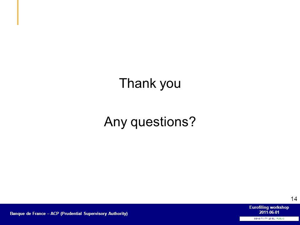 Banque de France – Secrétariat général de la Commission bancaire SENSITIVITY LEVEL : PUBLIC Banque de France – ACP (Prudential Supervisory Authority) Eurofiling workshop 2011-06-01 14 Thank you Any questions?