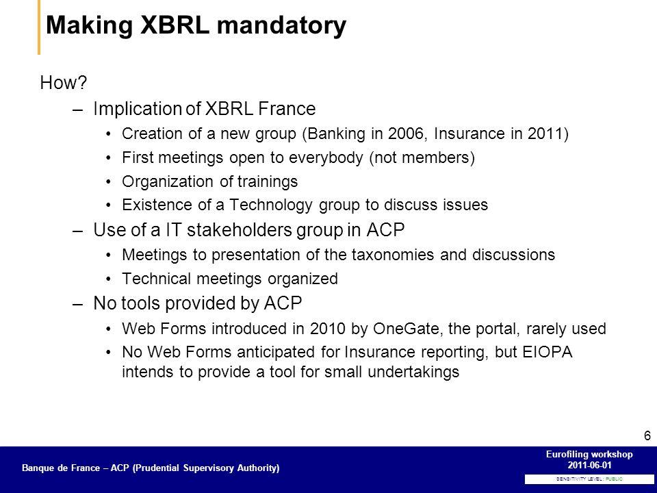 Banque de France – Secrétariat général de la Commission bancaire SENSITIVITY LEVEL : PUBLIC Banque de France – ACP (Prudential Supervisory Authority) Eurofiling workshop 2011-06-01 6 How.