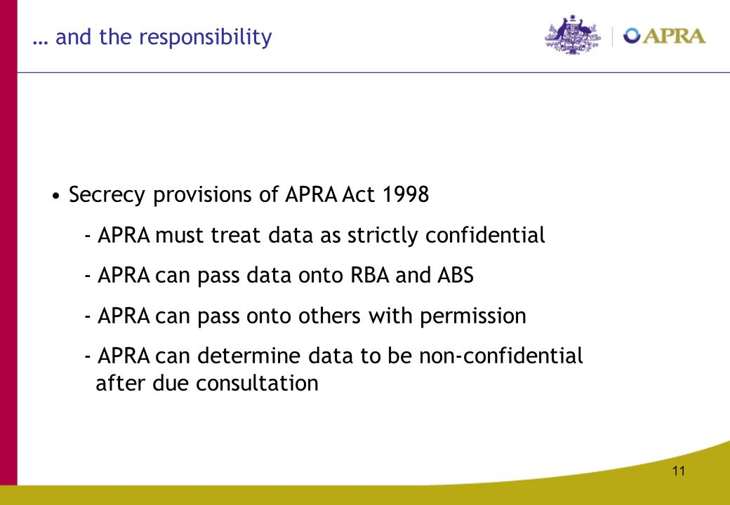 11 Secrecy provisions of APRA Act APRA must treat data as strictly confidential - APRA can pass data onto RBA and ABS - APRA can pass onto others with permission - APRA can determine data to be non-confidential after due consultation … and the responsibility