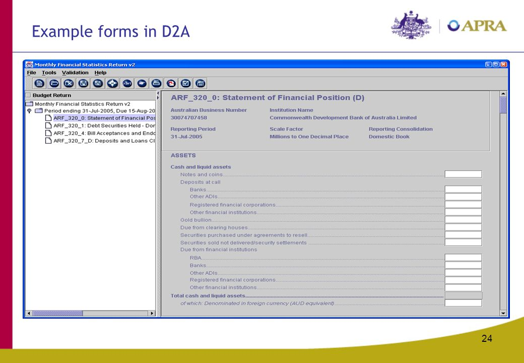 24 Recommended maximum area for graphics (tables, graphs, diagrams, photos) Example forms in D2A