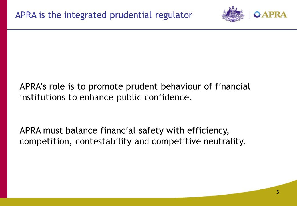 3 APRAs role is to promote prudent behaviour of financial institutions to enhance public confidence.