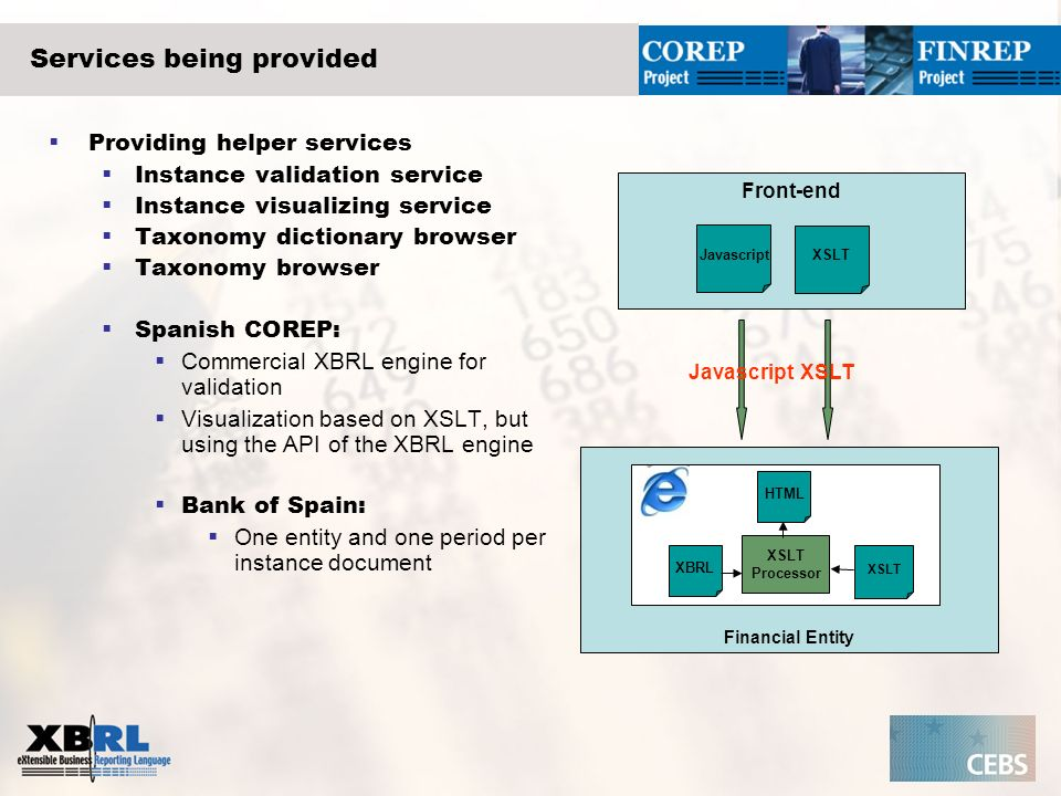 Services being provided Providing helper services Instance validation service Instance visualizing service Taxonomy dictionary browser Taxonomy browse