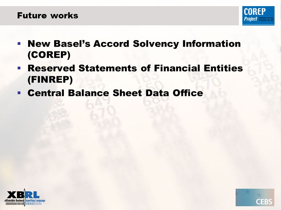 Future works New Basels Accord Solvency Information (COREP) Reserved Statements of Financial Entities (FINREP) Central Balance Sheet Data Office