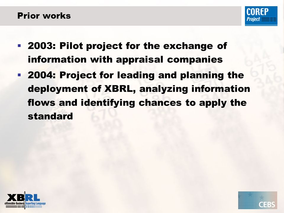 Prior works 2003: Pilot project for the exchange of information with appraisal companies 2004: Project for leading and planning the deployment of XBRL, analyzing information flows and identifying chances to apply the standard