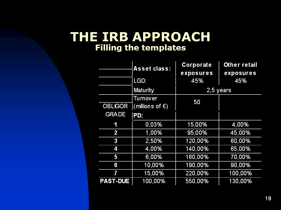 19 THE IRB APPROACH Filling the templates