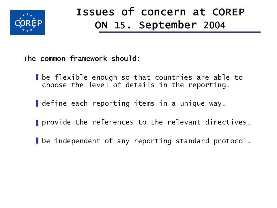 Issues of concern at COREP ON 15.