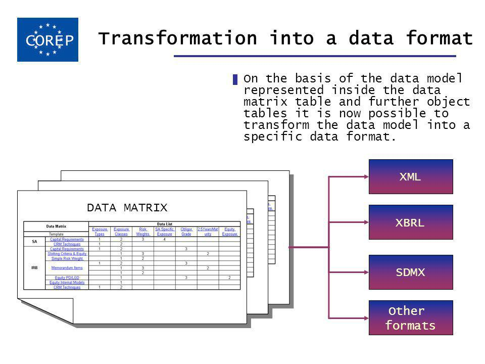 Transformation into a data format On the basis of the data model represented inside the data matrix table and further object tables it is now possible to transform the data model into a specific data format.