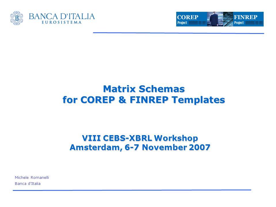 VIII CEBS-XBRL Workshop Amsterdam, 6-7 November, 2007 12 Time for questions Michele Romanelli Banca dItalia Credit and Financial Statistics Department Largo Guido Carli, 1 00044 Frascati (ROMA) tel.