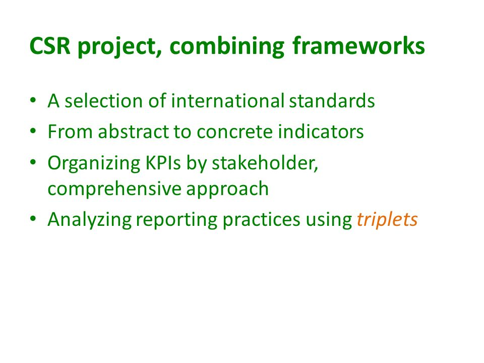CSR project, combining frameworks