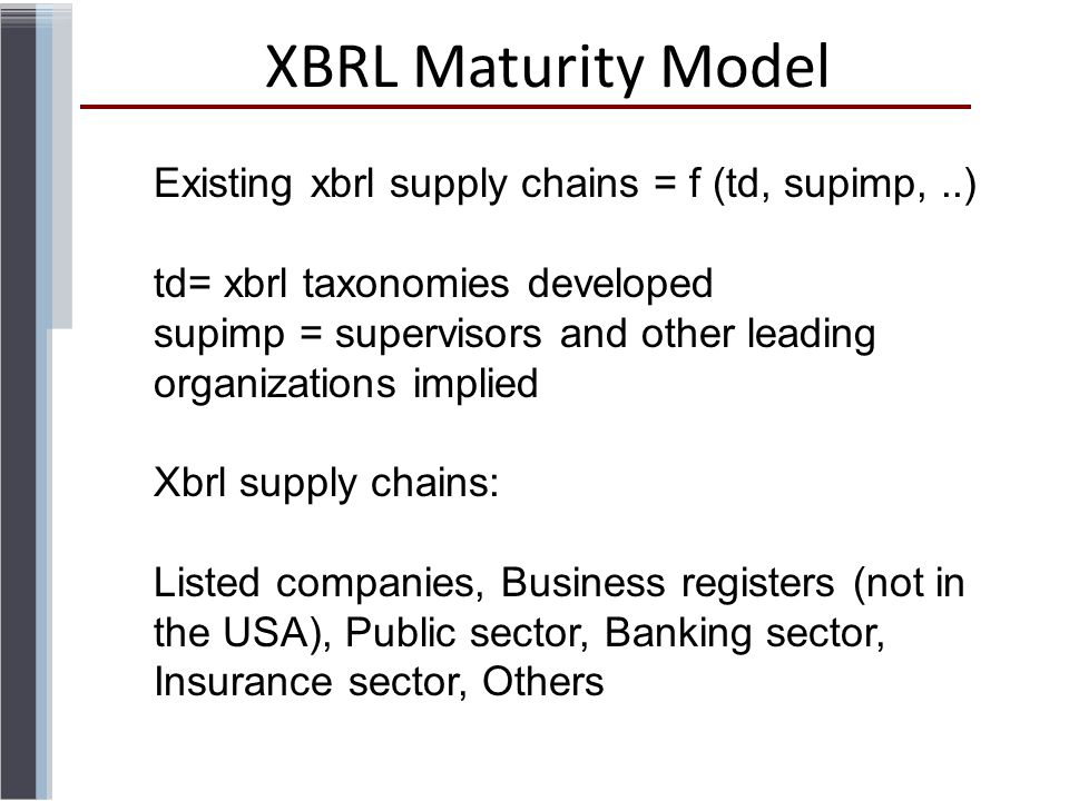 XBRL Maturity Model Existing xbrl supply chains = f (td, supimp,..) td= xbrl taxonomies developed supimp = supervisors and other leading organizations implied Xbrl supply chains: Listed companies, Business registers (not in the USA), Public sector, Banking sector, Insurance sector, Others