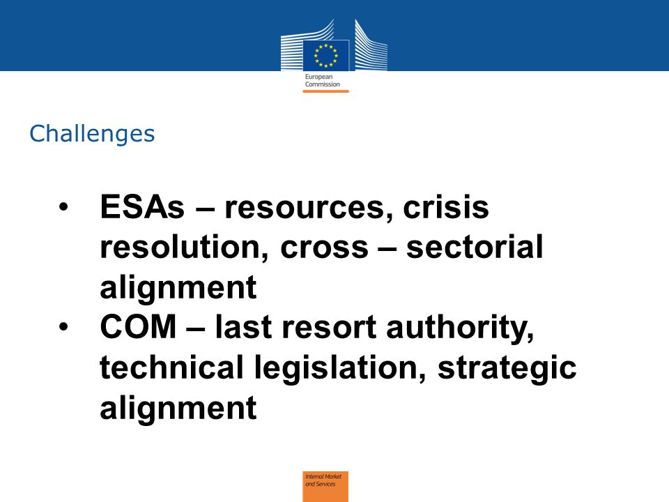 Challenges ESAs – resources, crisis resolution, cross – sectorial alignment COM – last resort authority, technical legislation, strategic alignment