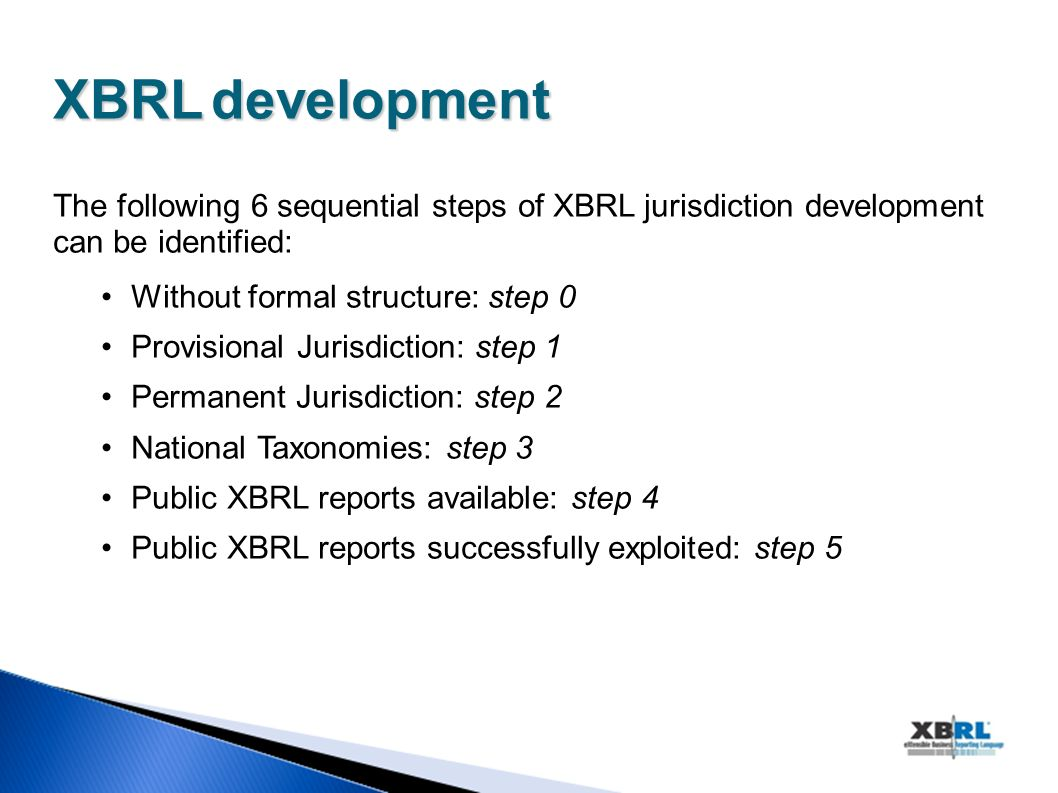XBRLdevelopment XBRL development The following 6 sequential steps of XBRL jurisdiction development can be identified: Without formal structure: step 0 Provisional Jurisdiction: step 1 Permanent Jurisdiction: step 2 National Taxonomies: step 3 Public XBRL reports available: step 4 Public XBRL reports successfully exploited: step 5