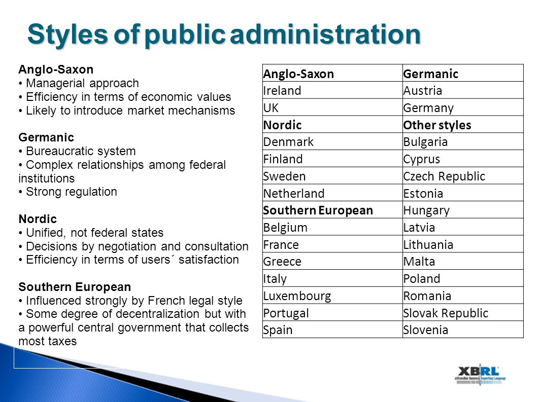 Stylesofpublicadministration Styles of public administration Anglo-Saxon Managerial approach Efficiency in terms of economic values Likely to introduc