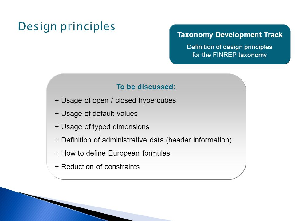 Taxonomy Development Track Definition of design principles for the FINREP taxonomy To be discussed: + Usage of open / closed hypercubes + Usage of def