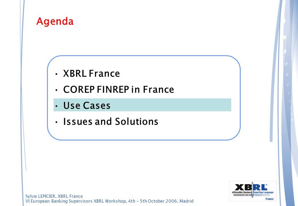 Sylvie LEPICIER, XBRL France VI European Banking Supervisors XBRL Workshop, 4th – 5th October 2006, Madrid Agenda XBRL France COREP FINREP in France U