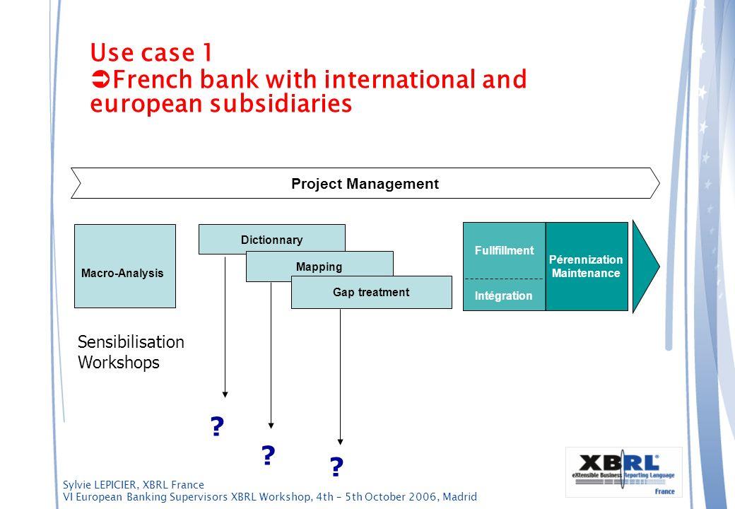 Sylvie LEPICIER, XBRL France VI European Banking Supervisors XBRL Workshop, 4th – 5th October 2006, Madrid Use case 1 French bank with international a