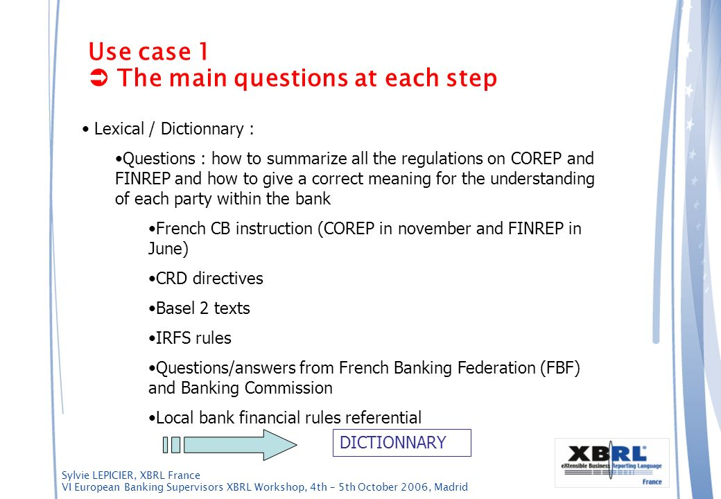 Sylvie LEPICIER, XBRL France VI European Banking Supervisors XBRL Workshop, 4th – 5th October 2006, Madrid Use case 1 The main questions at each step