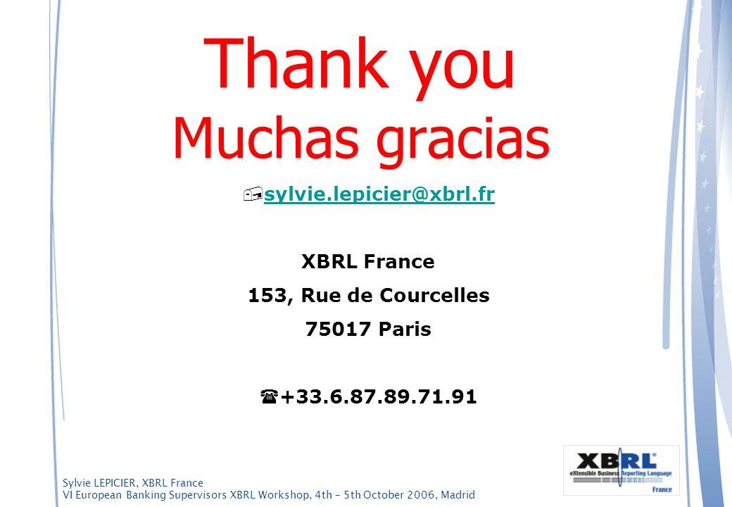 Sylvie LEPICIER, XBRL France VI European Banking Supervisors XBRL Workshop, 4th – 5th October 2006, Madrid Thank you Muchas gracias sylvie.lepicier@xb