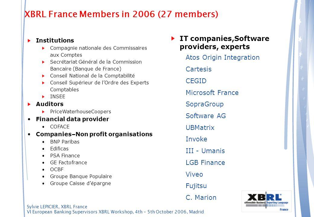 Sylvie LEPICIER, XBRL France VI European Banking Supervisors XBRL Workshop, 4th – 5th October 2006, Madrid Institutions Compagnie nationale des Commis