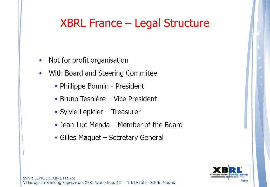 Sylvie LEPICIER, XBRL France VI European Banking Supervisors XBRL Workshop, 4th – 5th October 2006, Madrid Not for profit organisation With Board and