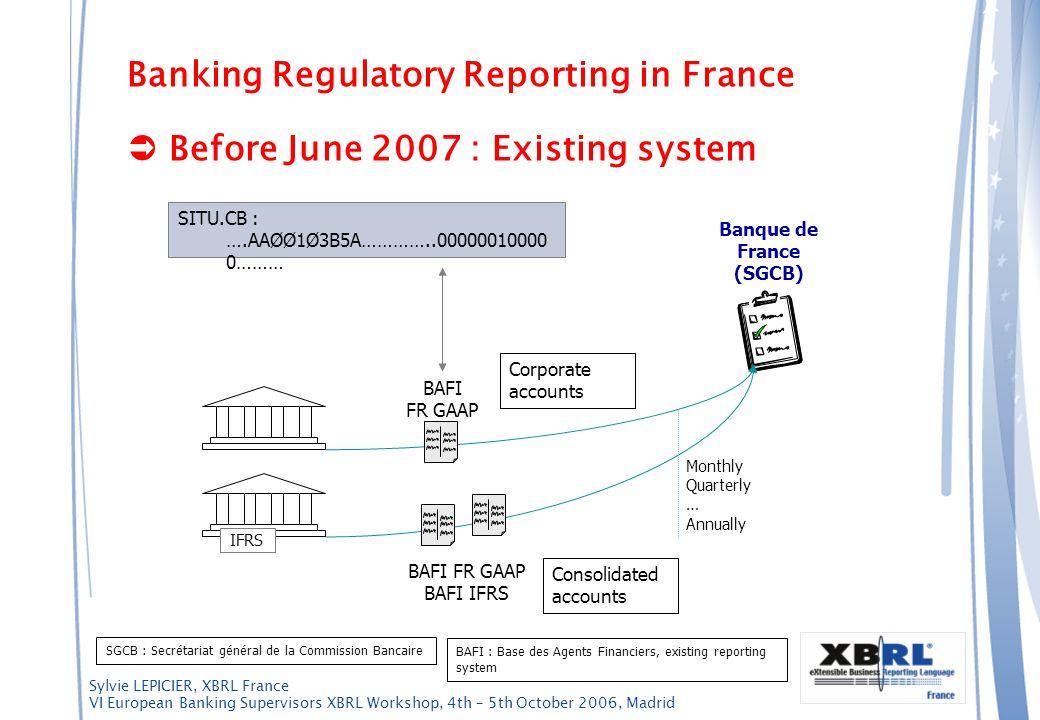Sylvie LEPICIER, XBRL France VI European Banking Supervisors XBRL Workshop, 4th – 5th October 2006, Madrid Banking Regulatory Reporting in France Befo