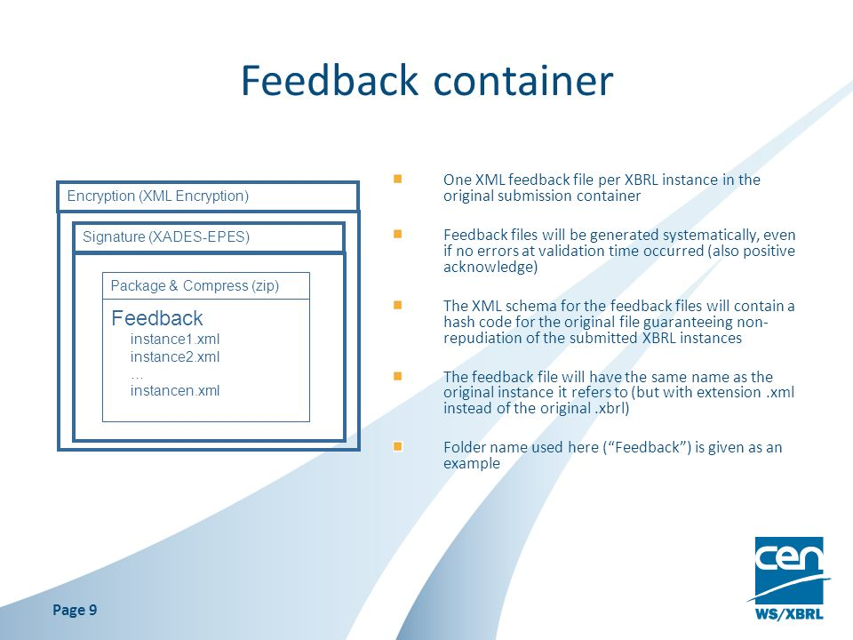 Feedback container One XML feedback file per XBRL instance in the original submission container Feedback files will be generated systematically, even if no errors at validation time occurred (also positive acknowledge) The XML schema for the feedback files will contain a hash code for the original file guaranteeing non- repudiation of the submitted XBRL instances The feedback file will have the same name as the original instance it refers to (but with extension.xml instead of the original.xbrl) Folder name used here (Feedback) is given as an example Package & Compress (zip) Signature (XADES-EPES) Feedback instance1.xml instance2.xml … instancen.xml Encryption (XML Encryption) Page 9