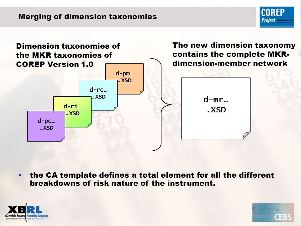 d-pm….XSD Merging of dimension taxonomies d-rc….XSD d-ri….XSD d-pc….XSD d-mr….XSD the CA template defines a total element for all the different breakd