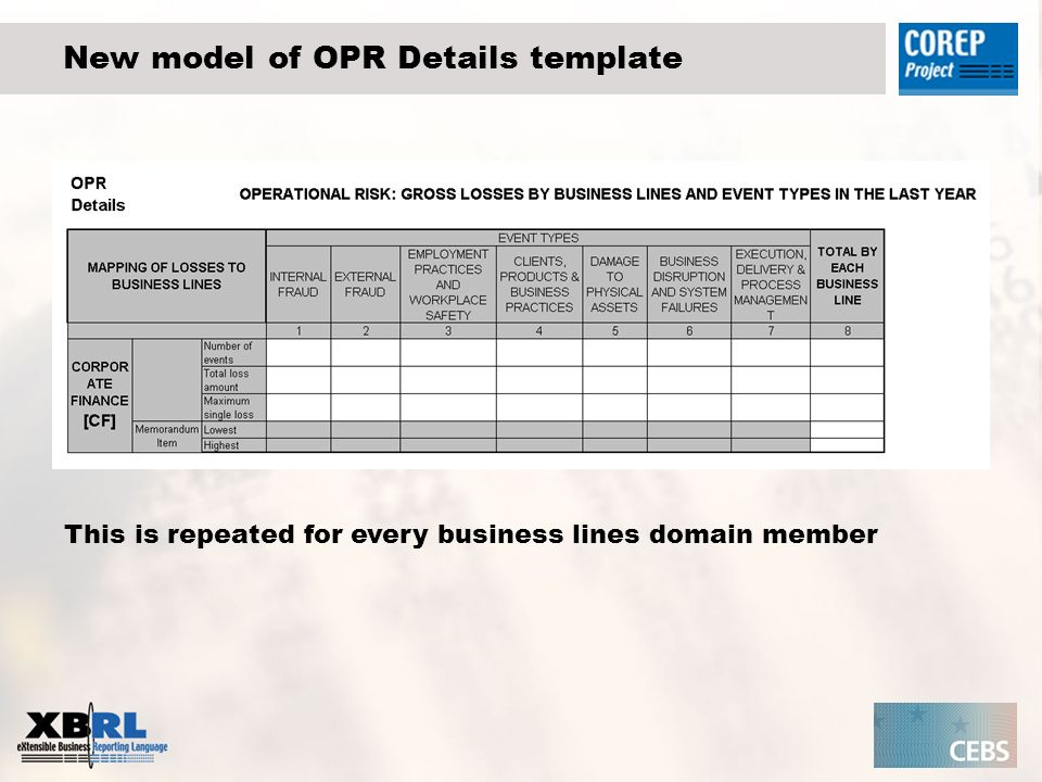 New model of OPR Details template This is repeated for every business lines domain member