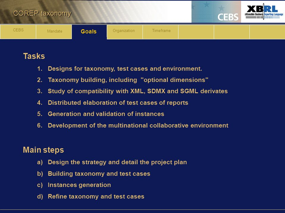 COREP taxonomy Tasks 1.Designs for taxonomy, test cases and environment.
