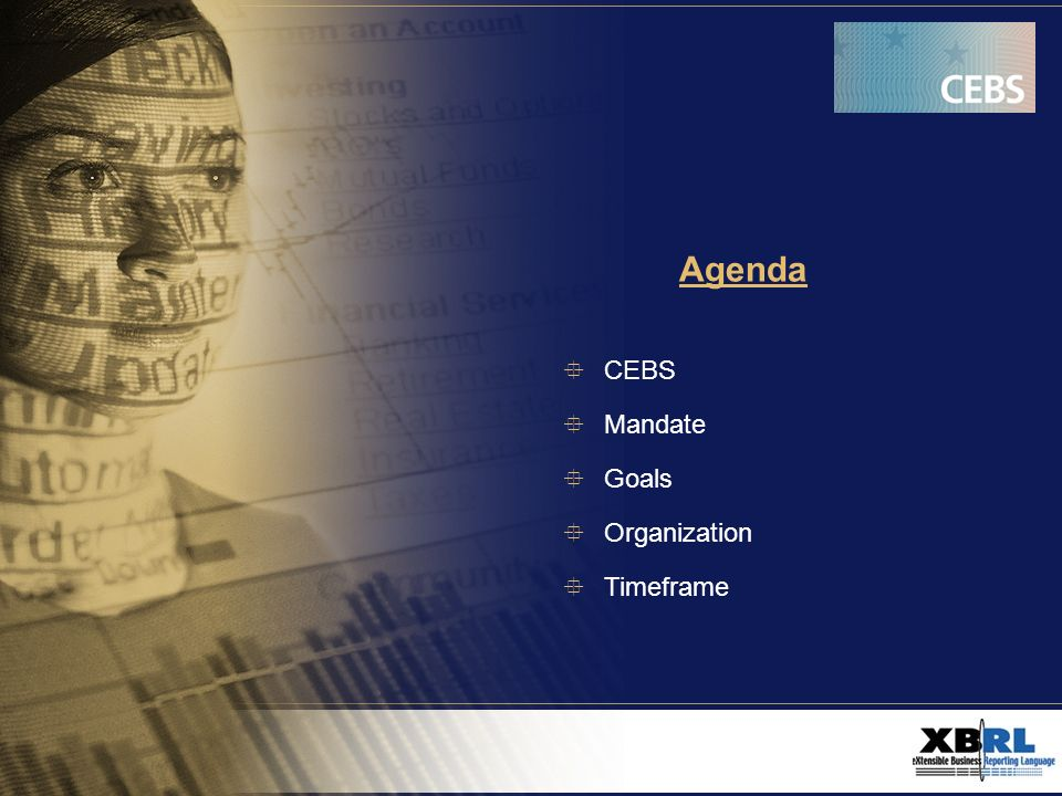 Agenda CEBS Mandate Goals Organization Timeframe