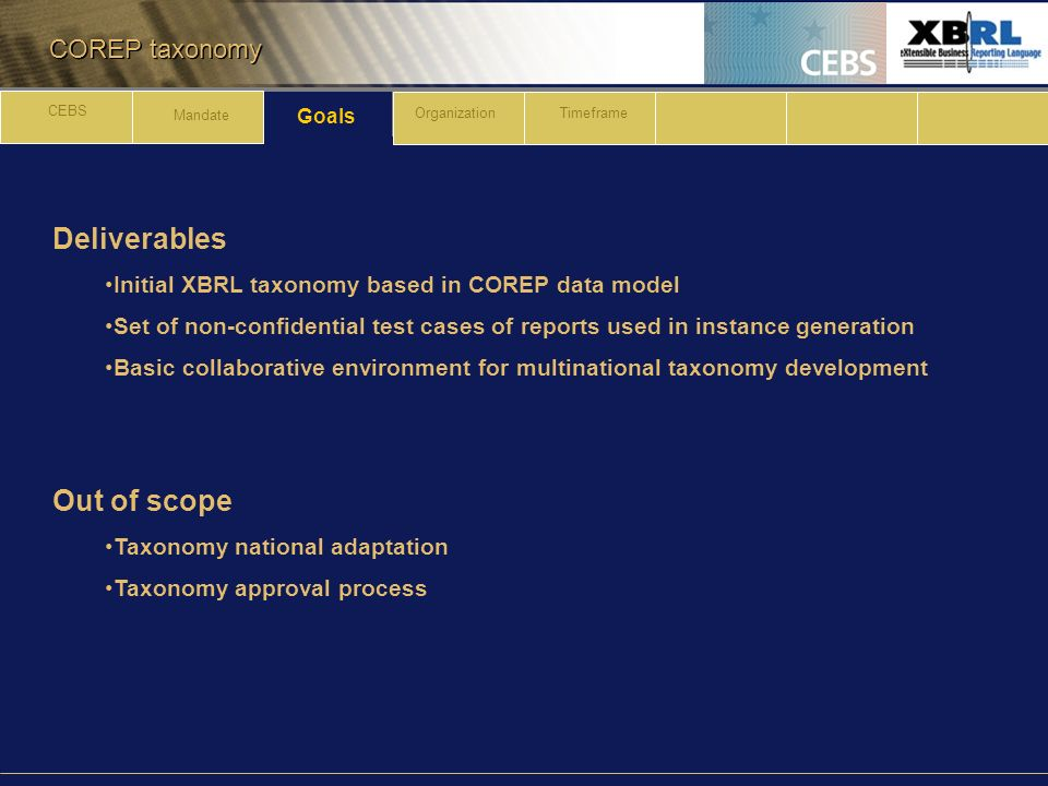 COREP taxonomy Deliverables Initial XBRL taxonomy based in COREP data model Set of non-confidential test cases of reports used in instance generation Basic collaborative environment for multinational taxonomy development Out of scope Taxonomy national adaptation Taxonomy approval process Goals CEBS Mandate OrganizationTimeframe