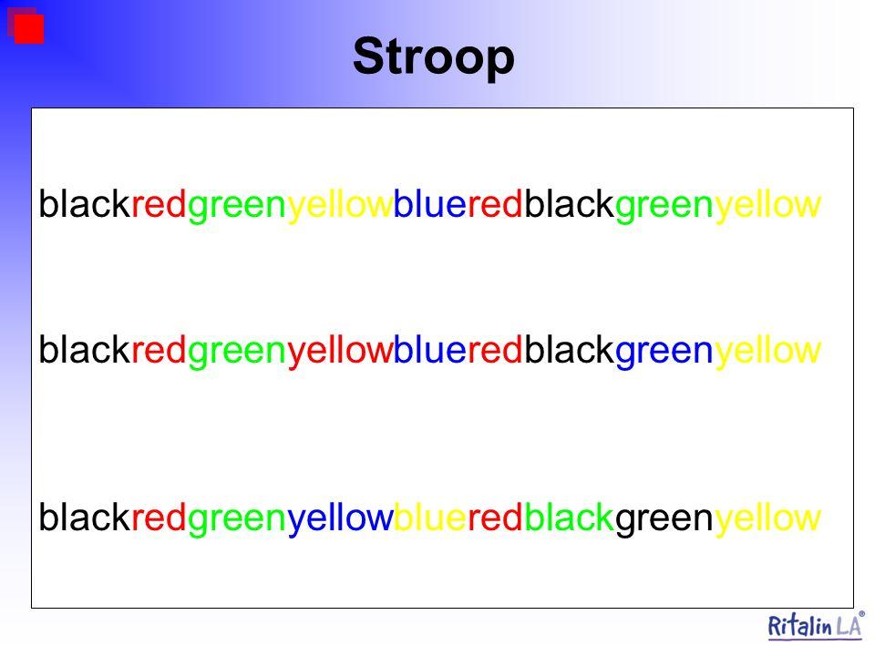 Stroop blackredgreenyellowblueredblackgreenyellow
