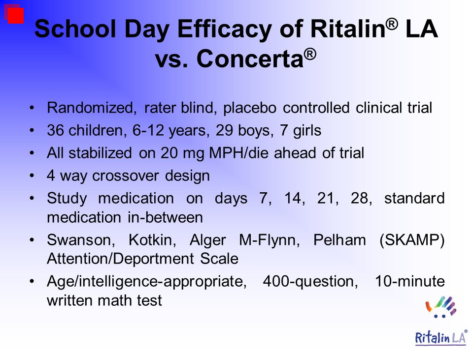 School Day Efficacy of Ritalin ® LA vs. Concerta ® Randomized, rater blind, placebo controlled clinical trial 36 children, 6-12 years, 29 boys, 7 girl