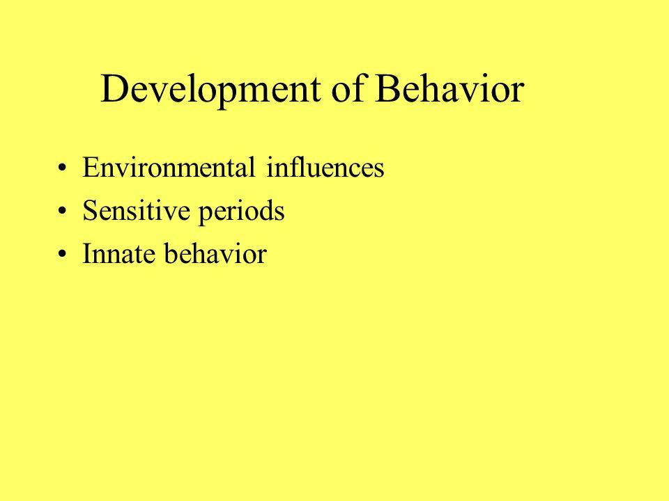 Development of Behavior Environmental influences Sensitive periods Innate behavior