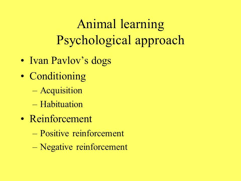 Animal learning Psychological approach Ivan Pavlovs dogs Conditioning –Acquisition –Habituation Reinforcement –Positive reinforcement –Negative reinforcement