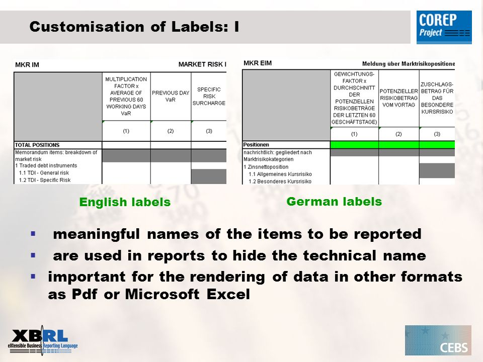 Customisation of Labels: I English labels German labels meaningful names of the items to be reported are used in reports to hide the technical name important for the rendering of data in other formats as Pdf or Microsoft Excel